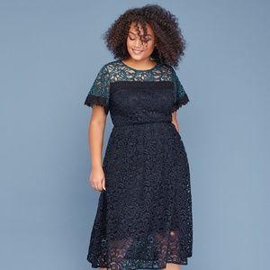 Colorblock lace midi dress